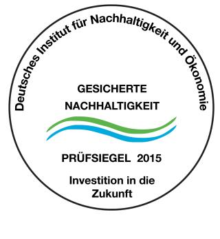 Siegel_Nachhaltigkeit_2015 für Reinigung der Gebäudereinigungen und Industriereinigungen