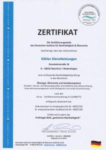 Zertifikat Nachhaltigkeit 2016